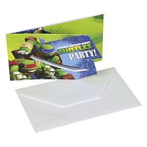 Ninja Turtles - Invitation & kuvert - 6 stk.